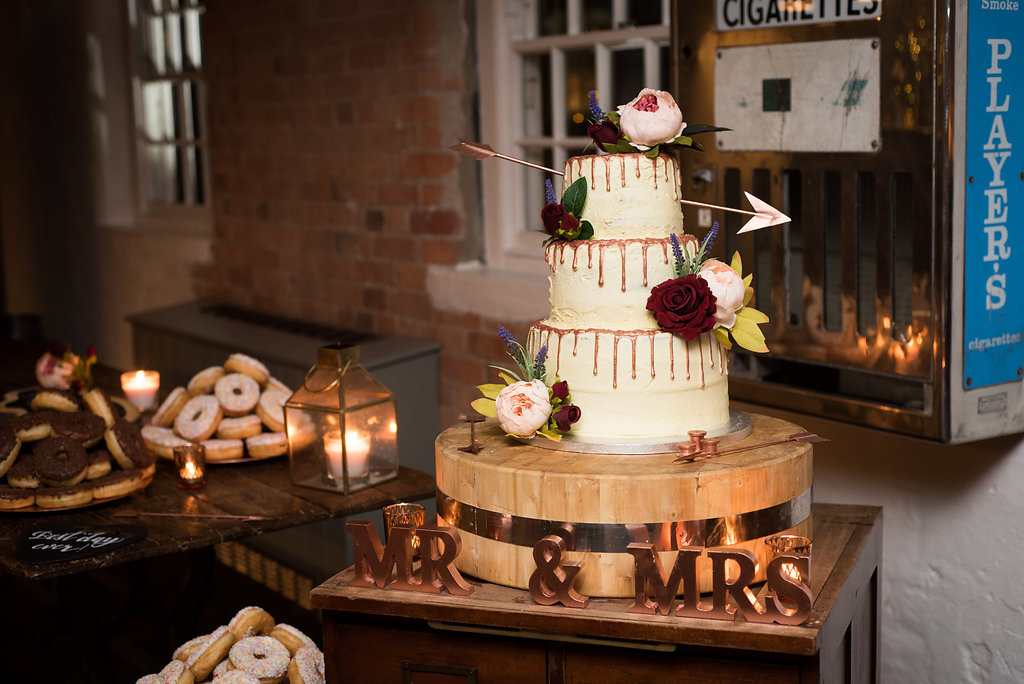 Copper drip wedding cake