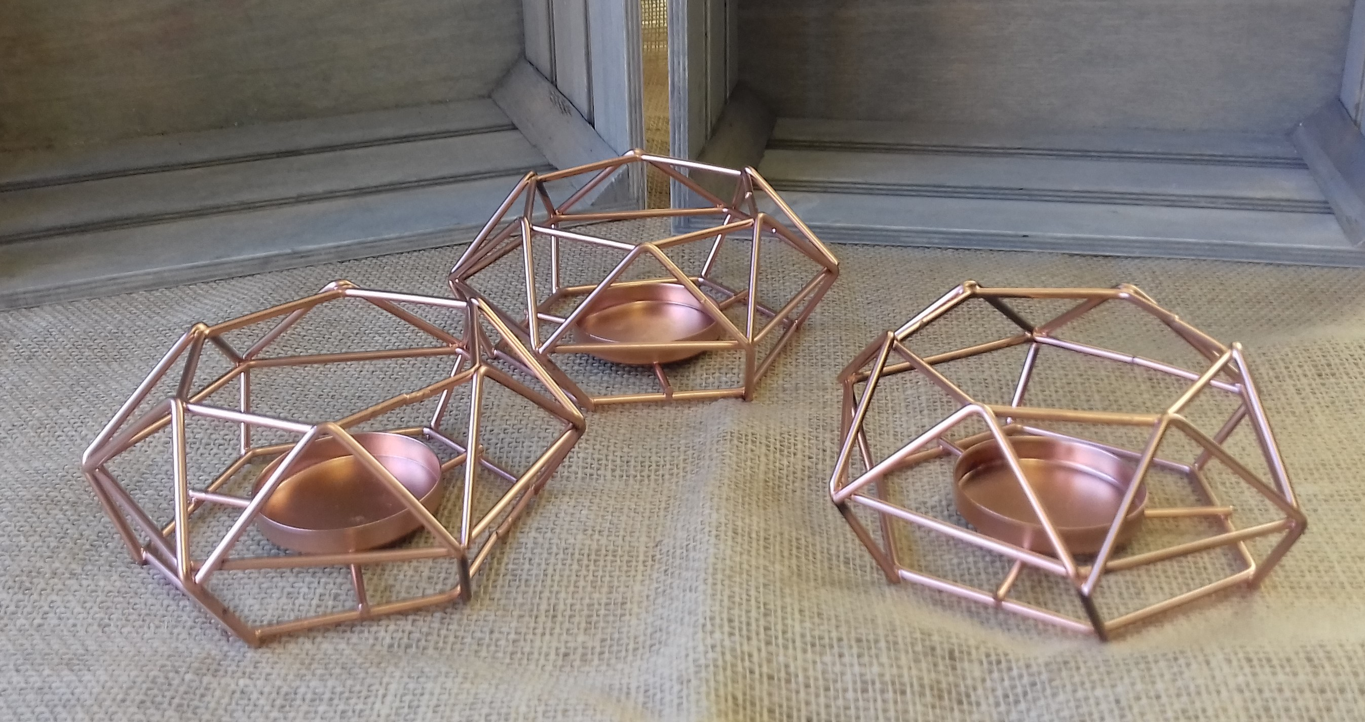 ROSE GOLD SMALL GEO TEALIGHT HOLDERS