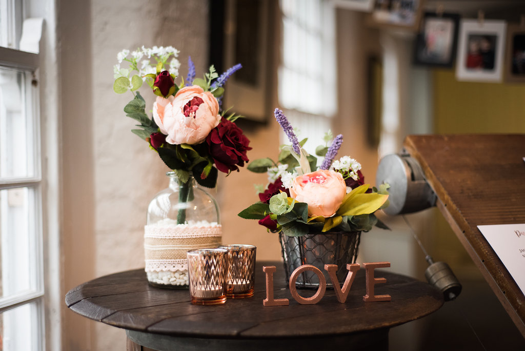 Floral wedding venue decor