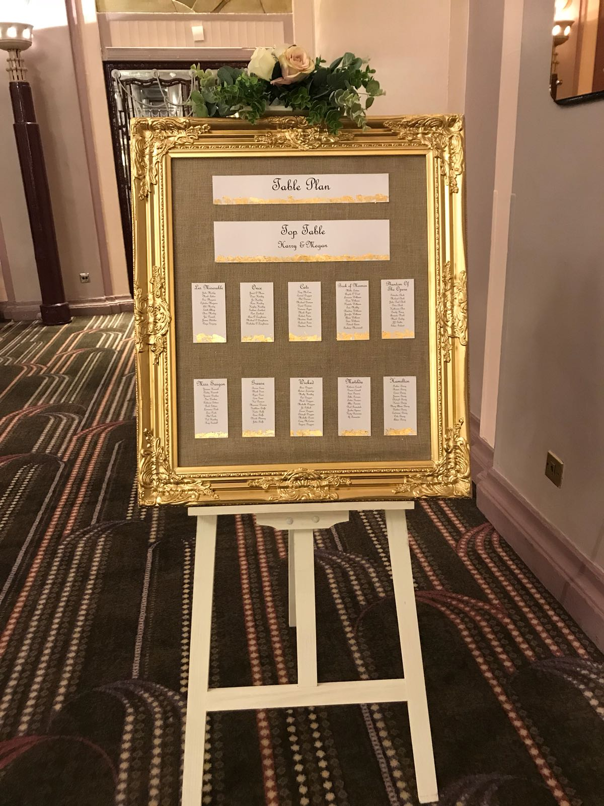 Seating plan with gold leaf edging