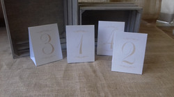 cream and gold table numbers