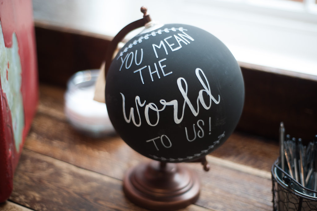 Chalkboard and copper globe