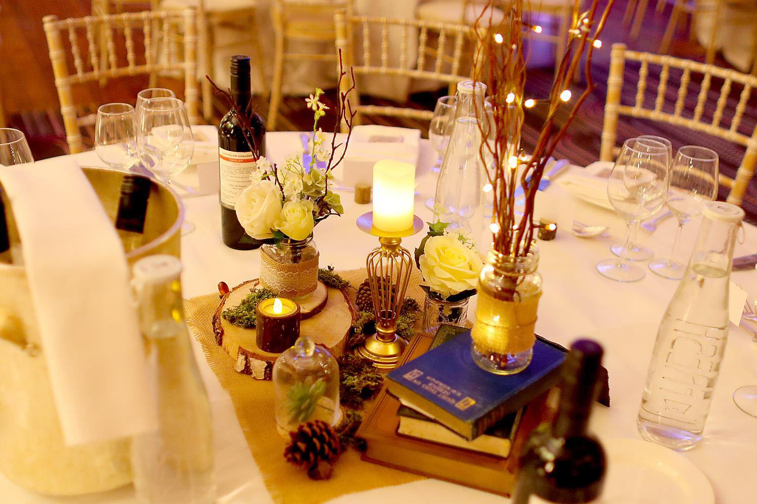 Woodland wedding table centrepiece