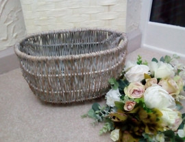 Grey wicker basket
