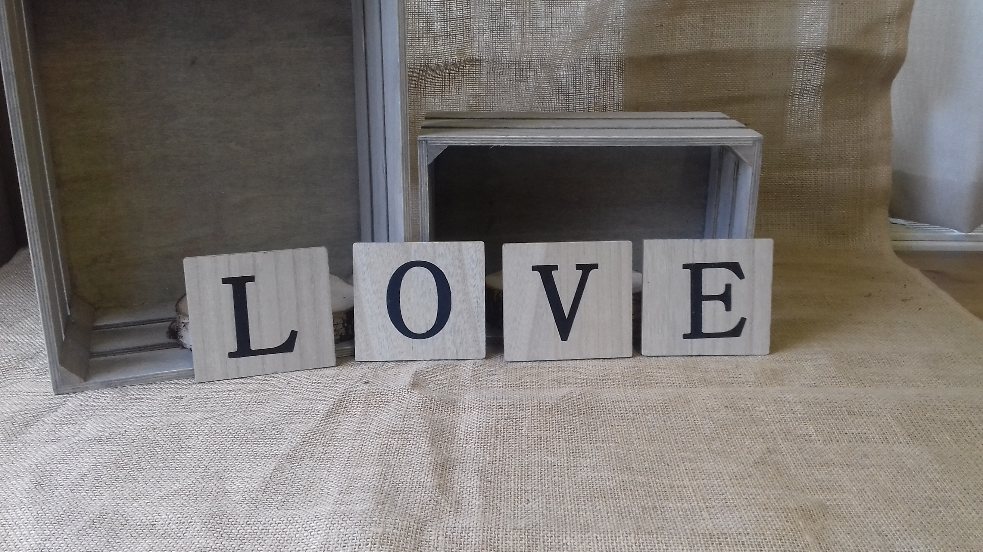 wooden scrabble letters love