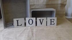 wooden scrabble letters love
