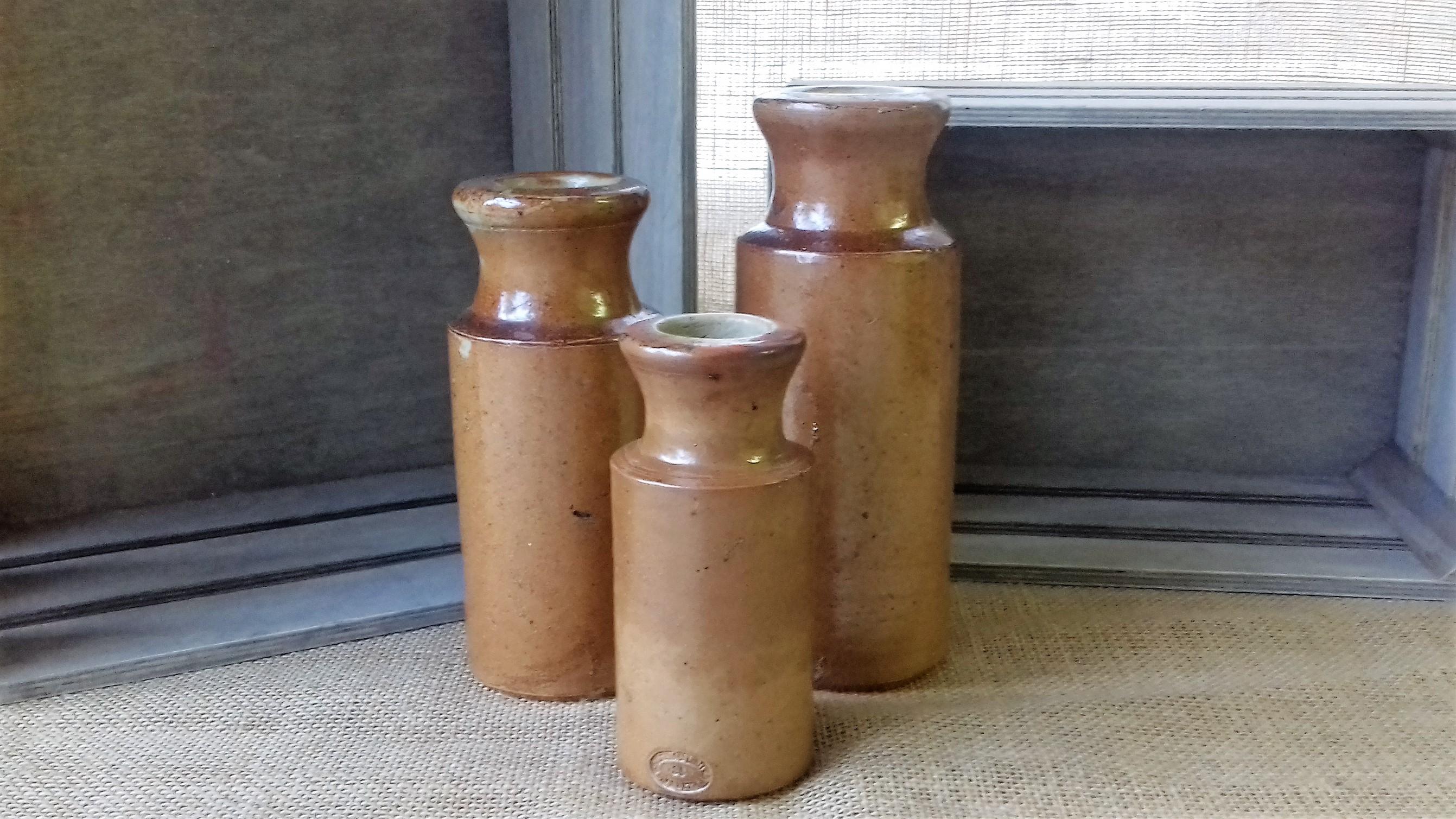 3 x stoneware vases
