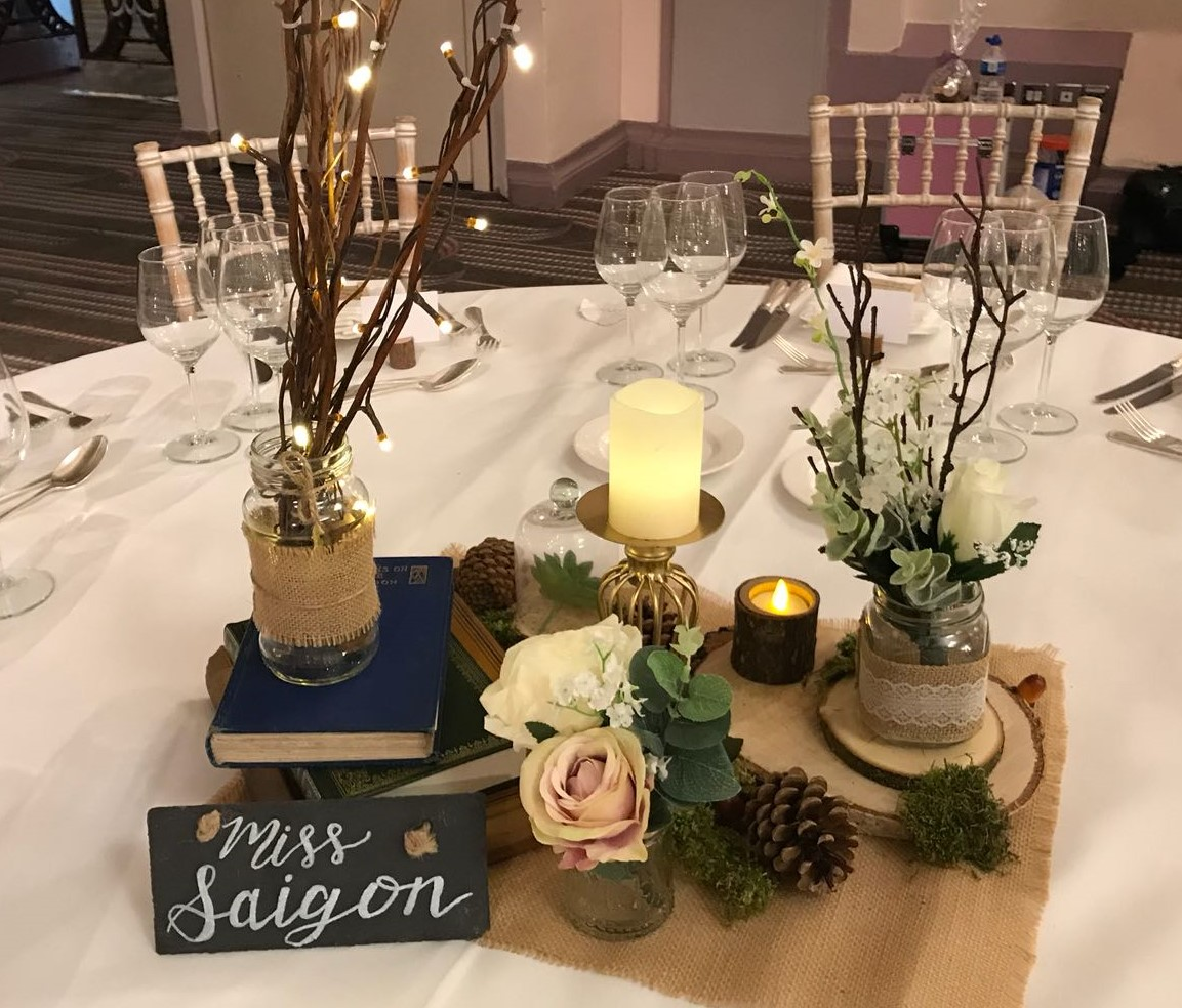 Woodland wedding centrepieces