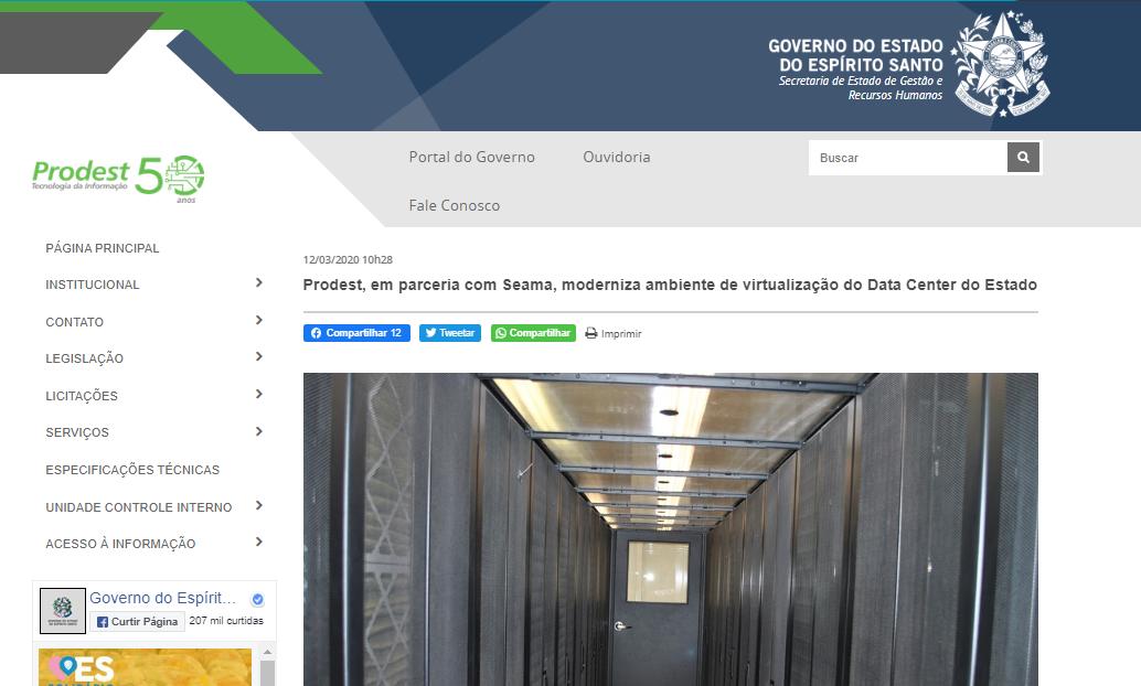 PRODEST moderniza ambiente de virtualização do data center do ES