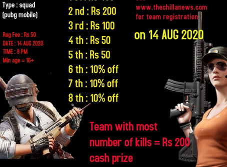 One Day PTI TOURNAMENT Is on 14 Aug 20|PUBG MOBILE|SQUAD|prize pool 1000
