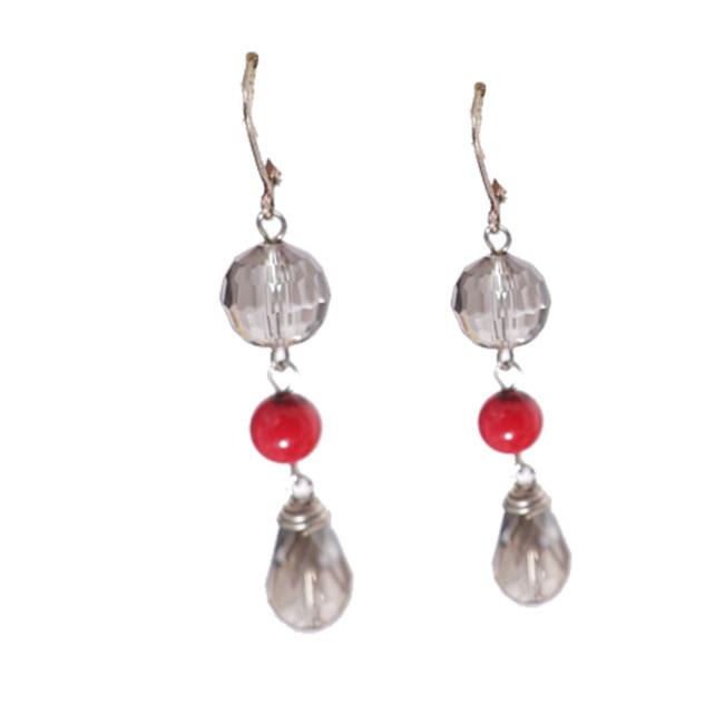 Silver shade dangle earrings