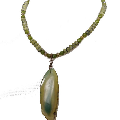 Lime green agate necklace