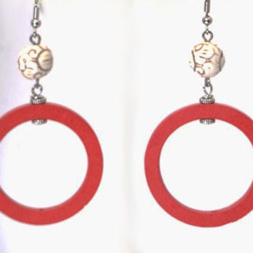 Red circle earrings - carved howlite