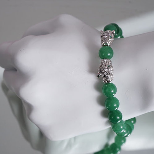 Double Jaguar/ green aventurine bracelet