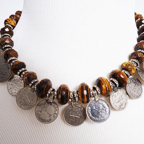 Tiger's eye / Vintage coin necklace