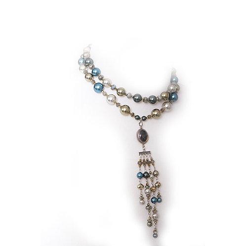 Roman glass dangle necklace