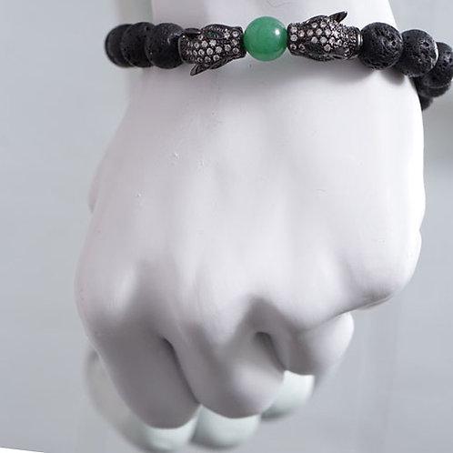 Double Jaguar/ lava stone bracelet