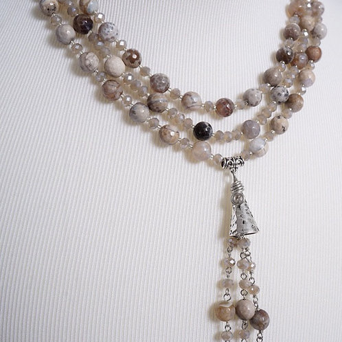 Pale grey agate multi strand necklace
