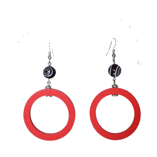 Red circle earrings - blk bullseye