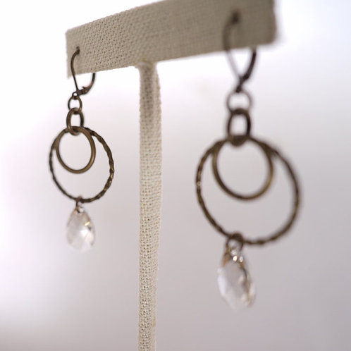 Small double hoop drop earrings