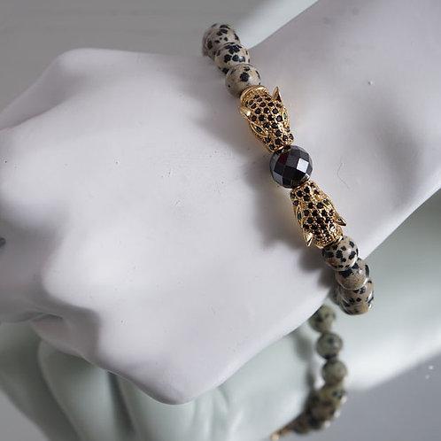 Double Jaguar/ dalmatian jasper bracelet