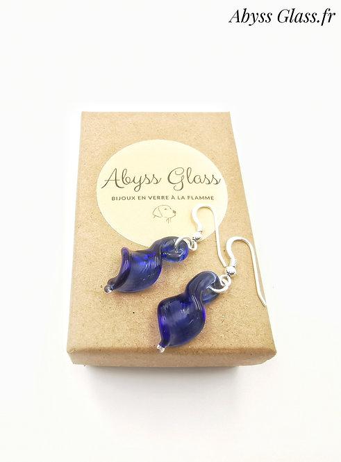 Boucles d'oreilles feuilles bleues argent 925