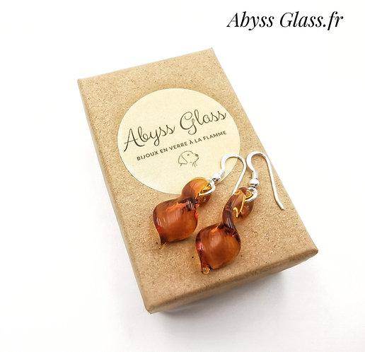 Boucles d'oreilles feuilles ambres argent 925