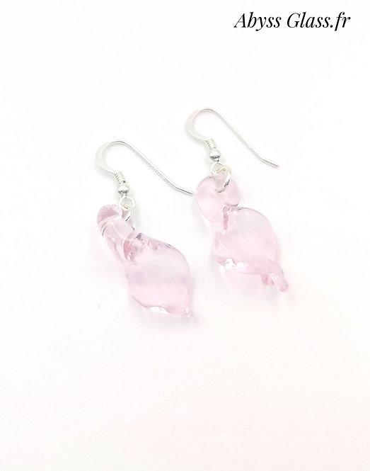 Boucles d'oreilles feuilles rose