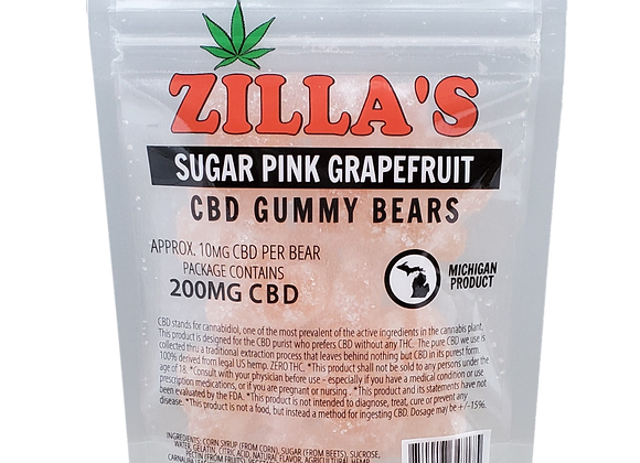"""Sugar Pink Grapefruit""  CBD gummy bears"