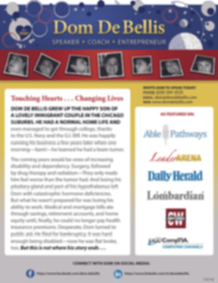 image is a pdf of speaker one-sheet depicting branded banner at top and logos of media brands in right column opposite biographical copy on left and social media links at bottom.