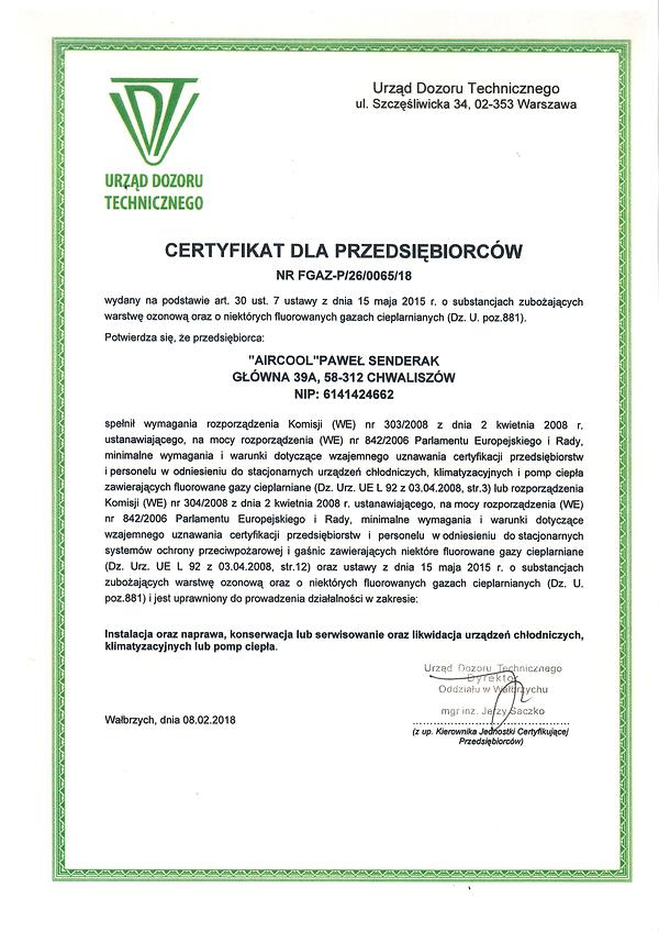 Certyfikat dla przedsiębiorców FGAZ_P.26