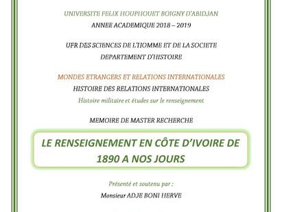 Le renseignement en Côte d'Ivoire de 1890 à nos jours