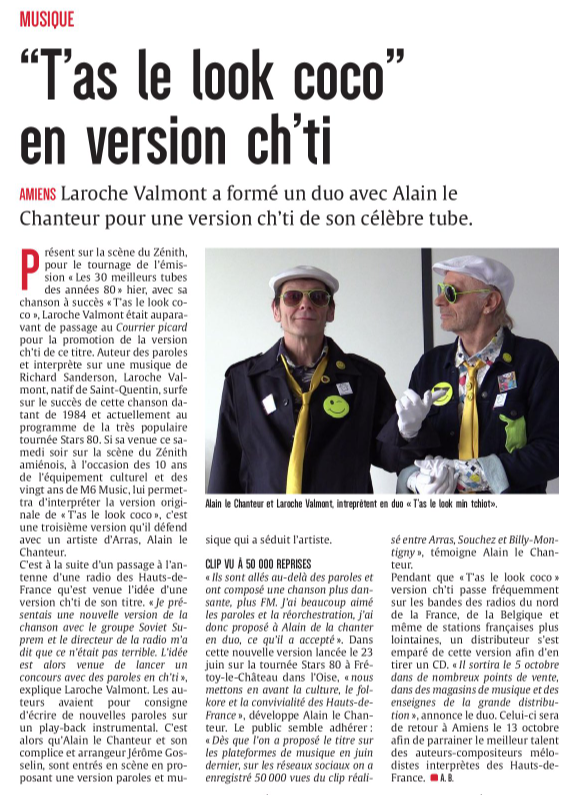 ARTICLE ALAIN LE CHANTEUR LAROCHE VALMONT le courrier picard 23 09 2018