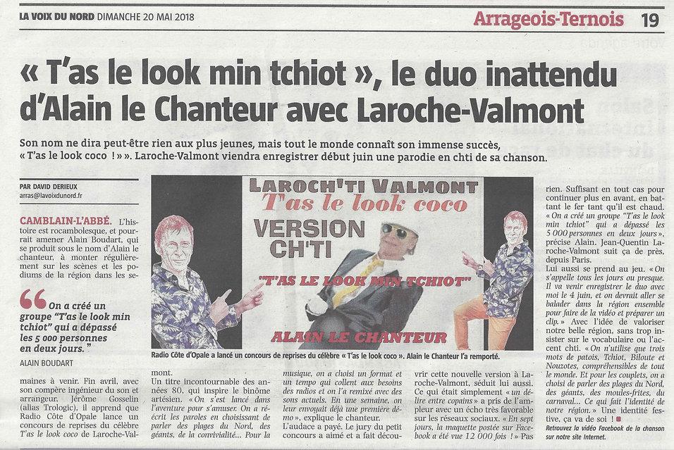 ARTICLE VOIX DU NORD ALAIN LE CHANTEUR LAROCHE VAMONT