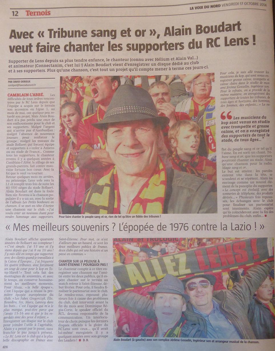 ARTICLE VOIX DU NORD ALAIN LE CHANTEUR ET LE RACING CLUB DE LENS