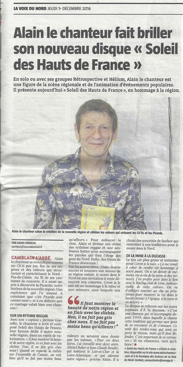 ARTICLE VOIX DU NORD ALAIN LE CHANTEUR CD SOLEIL DES HAUTS DE FRANCE