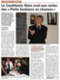 ARTICLE VOIX DU NORD ALAIN LE CHANTEUR , CD LES PETITS BONHEURS EN CHANSON