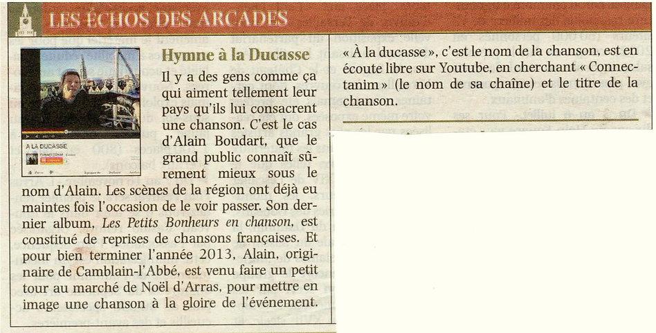 """ARTICLE VOIX DU NORD ALAIN LE CHANTEUR , """"A LA DUCASSE"""""""