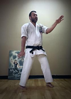 Oshita Sensei demonstrating the Seisan Kata Form