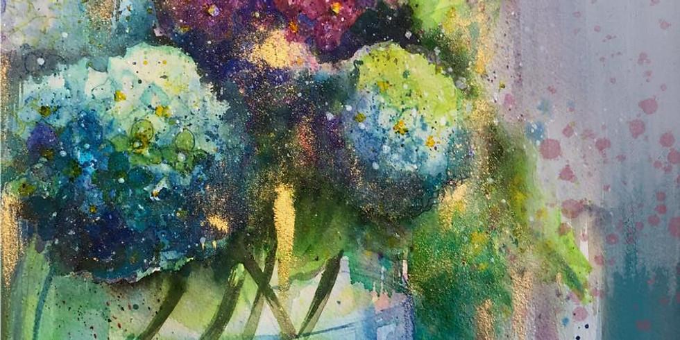 Hydrangeas - Watercolour, Ink, Pencils - One Day Workshop