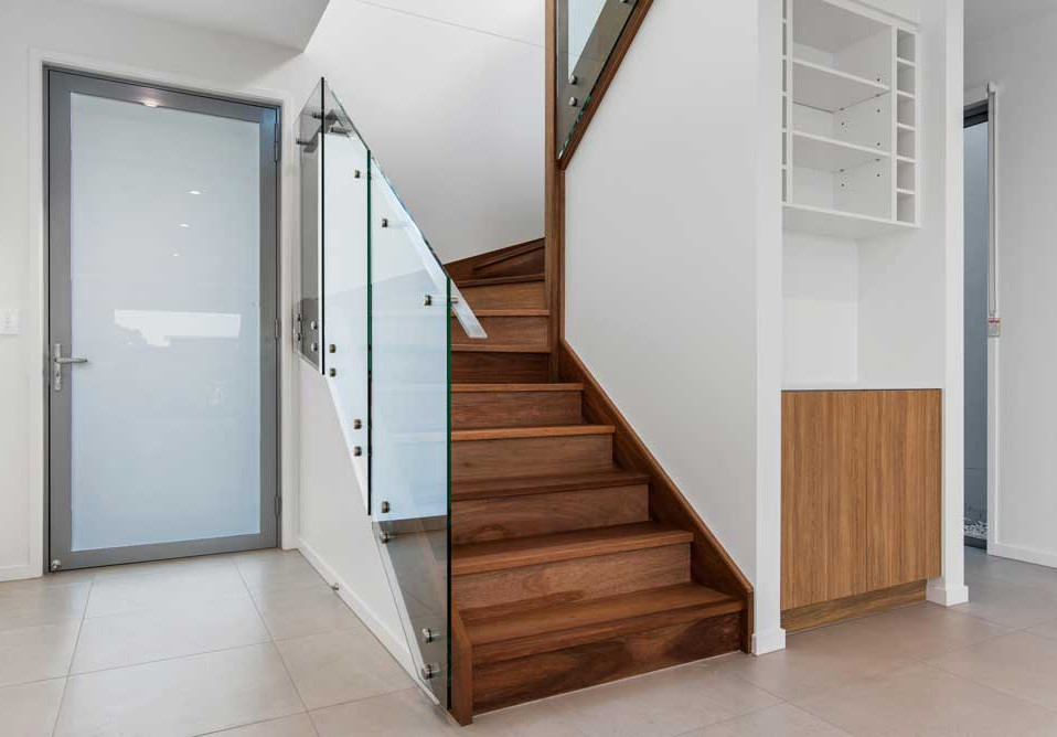 Stairs with face fixed glass