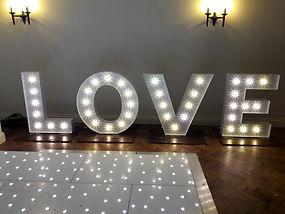 3ft tall love illuminated letter lights for hire in Southend, Essex