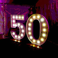 Giant light up numbers perfect for birthdays, parties, anniversaries