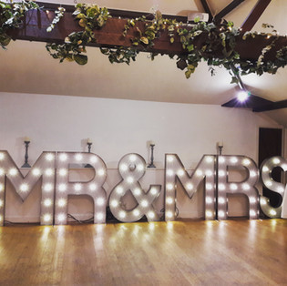 KMS Hire - Surrey giant light up MR & MRS letter lights wedding hire