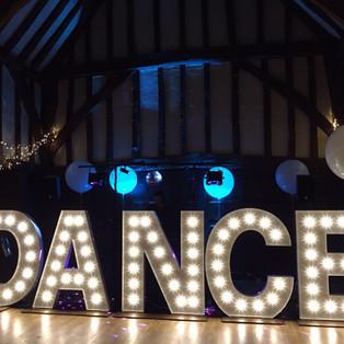 KMS Hire - Surrey giant light up DANCE letter lights wedding hire