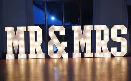 4ft tall Mr and Mrs light up illuminated letter lights for wedding hire in essex, kent, suffolk