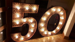 KMS Hire's rustic 50 birthday light