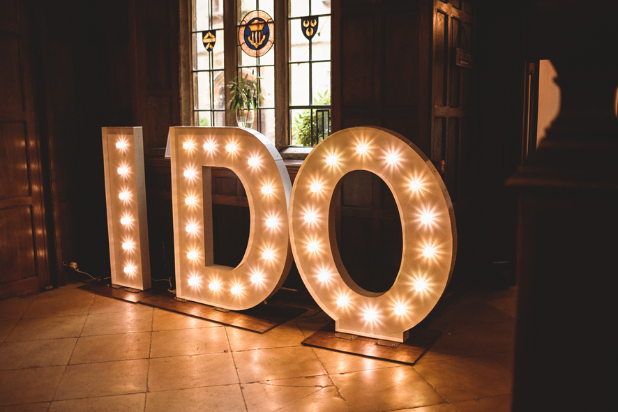 KMS Hire's I DO letter lights