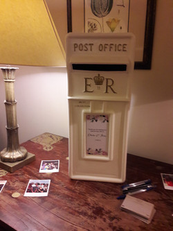 KMS Hire cream and gold post box