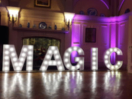 3ft tall MAGIC illuminated letter lights for hire in Southend, perfect for weddings, parties, engagements, events